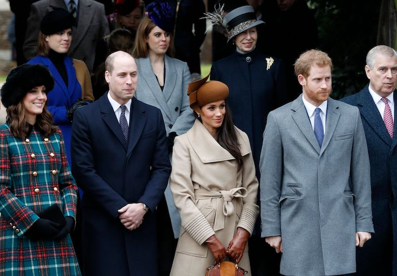 Britain's Catherine, Duchess of Cambridge, (L) and Britain's Prince William, Duke of Cambridge, (2L), US actress and fiancee of Britain's Prince Harry Meghan Markle (2R) and Britain's Prince Harry (R) stand together as they wait to see off Britain's Queen Elizabeth II after attending the Royal Family's traditional Christmas Day