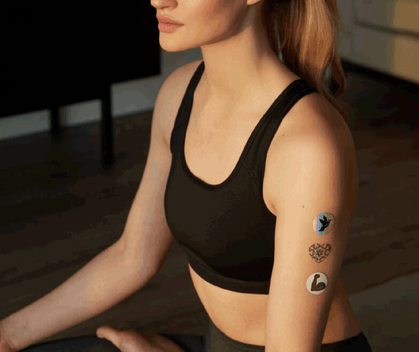 Body Vibe Stickers on a model.