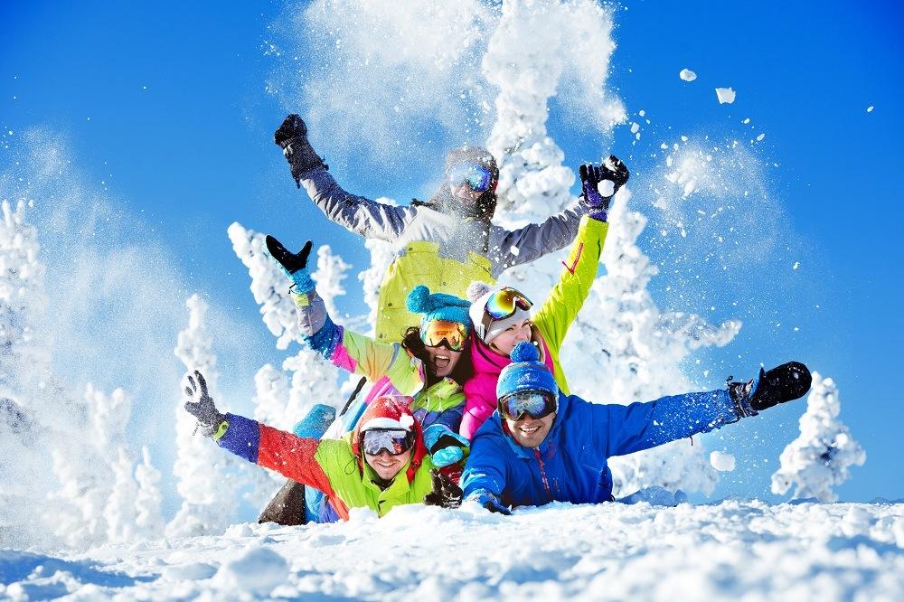 Friends having fun at Sheregesh ski resort