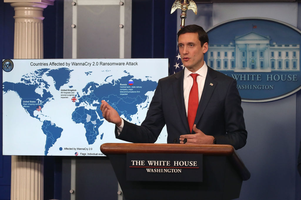 Tom Bossert, White House homeland security advisor, briefs reporters about the WannaCry cyberattack