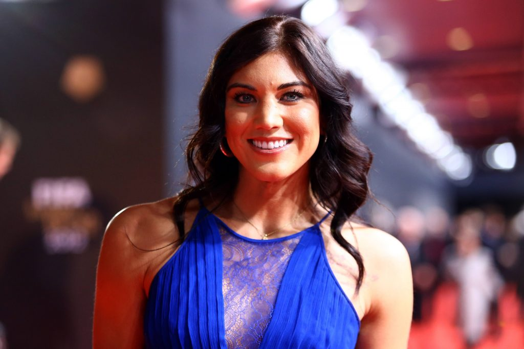 Hope Solo poses during the red carpet arrivals for the FIFA Ballon d'Or Gala 2012 on January 7, 2013 at Congress House in Zurich, Switzerland. (Photo by Christof Koepsel/Getty Images)