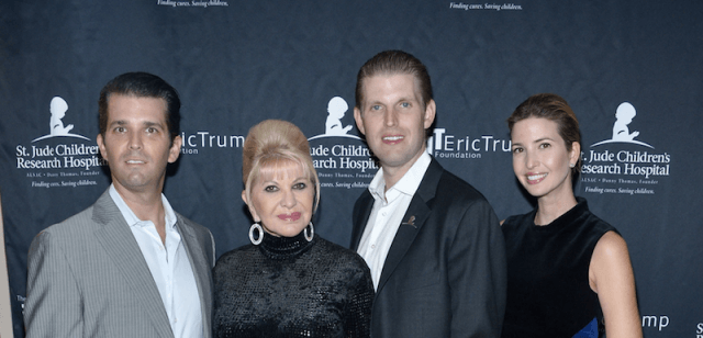Eric, Donald Jr. and Ivanka Trump standing with their mother, Ivana.