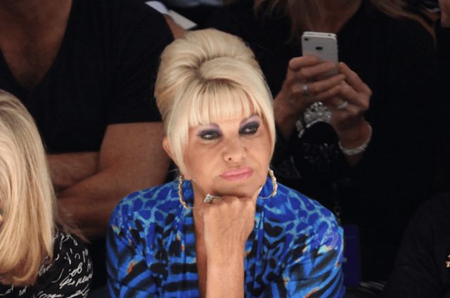 Ivana Trump sitting at a fashion show.