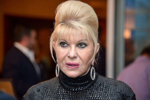 Ivana Trump poses in a black gown and silver hoop earrings.