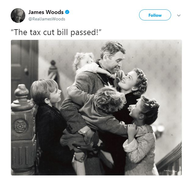 Actor James Woods isn't afraid to share his approval of the tax bill.