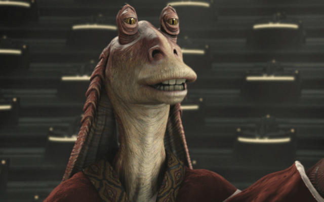 Jar Jar Binks standing and looking at something in front of him