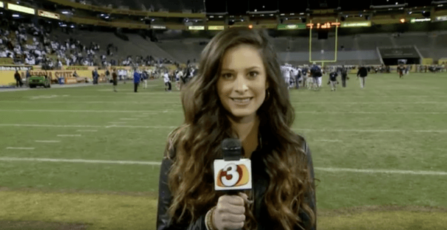 Jenna Jones reporting on a field.
