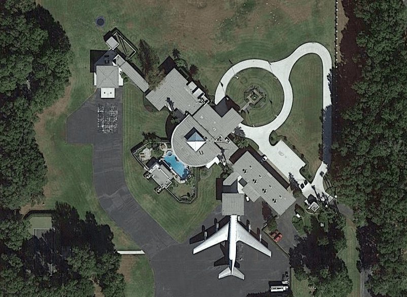 John Travolta aerial image of his house and private airport.