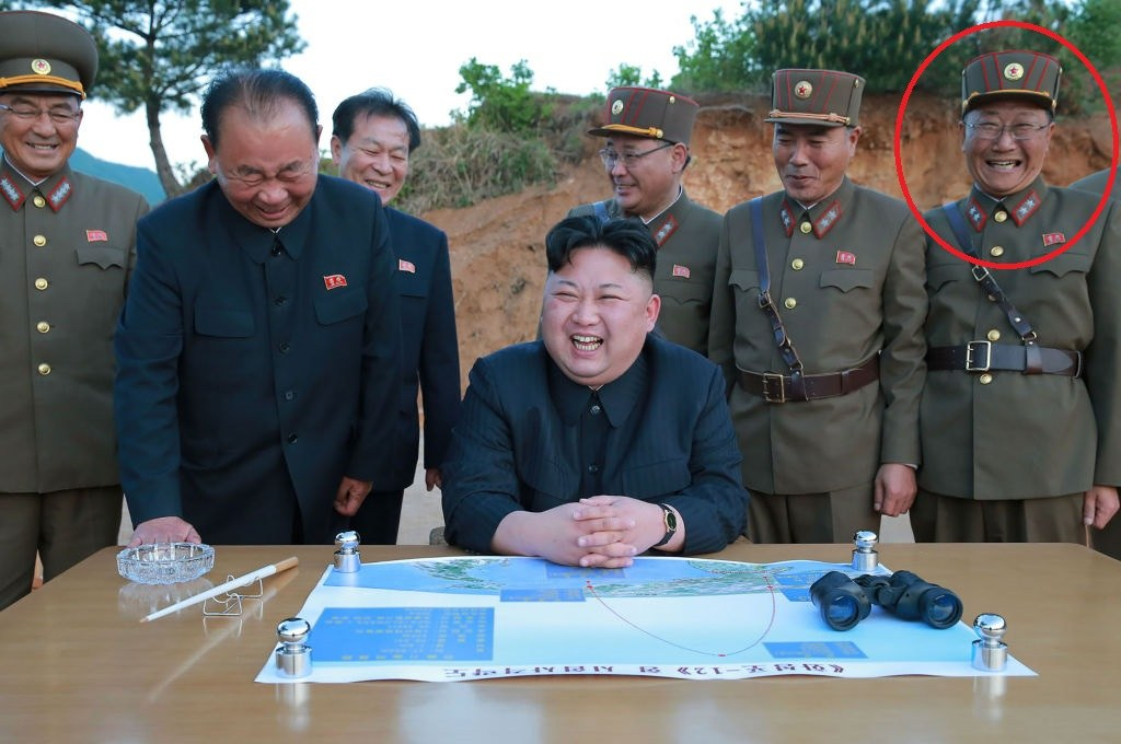 North Korean officials with Jon Il Ho circled
