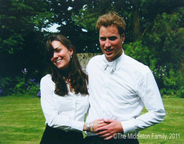 Kate Middleton posing with Prince William during their graduation.