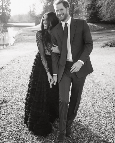 Meghan Markle and Prince Harry during their engagement shoot.
