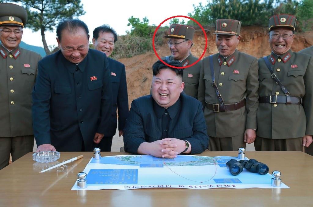 North Korean officials with Kim Jong-Sik circled