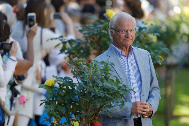 King Carl Gustaf of Sweden stands in front of a bush.