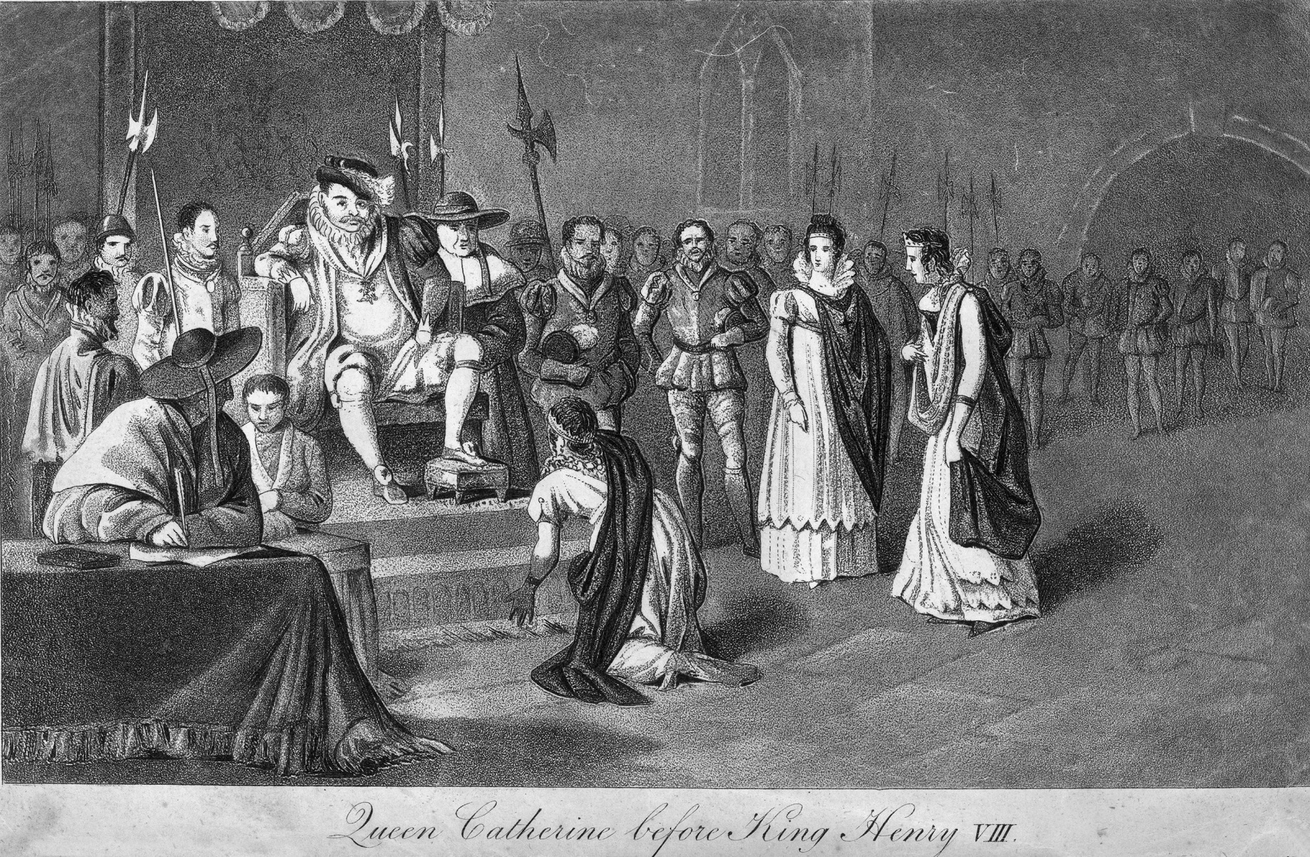 Drawing of King Henry VIII and Queen Catherine