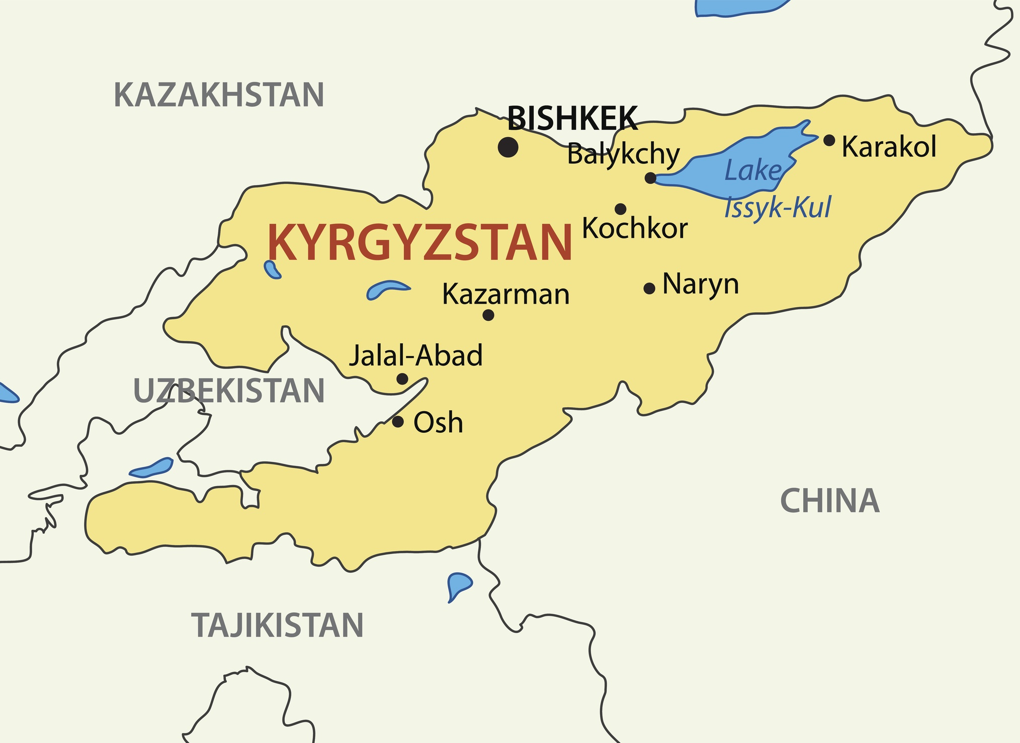 Kyrgyz Republic - Kyrgyzstan - vector map