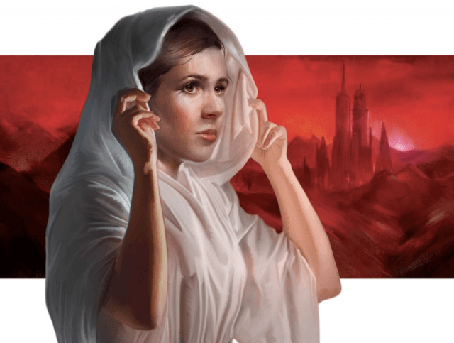 A young Princess Leia in the book art cover.
