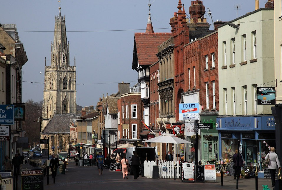 A general view of the streets close to Gloucester Cathedral