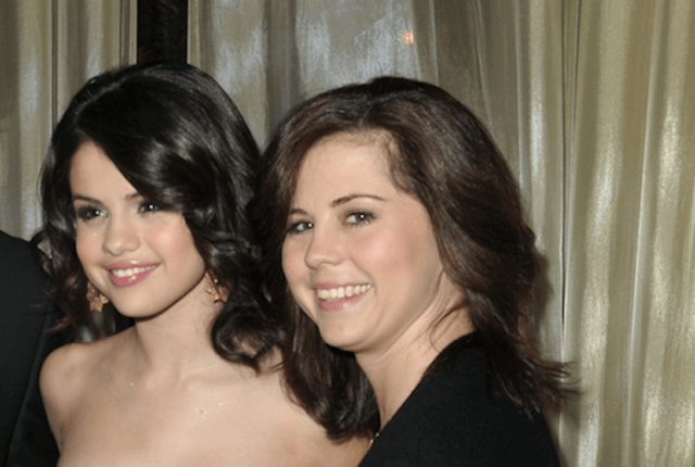 Mandy Teefey poses with Selena Gomez at a party.