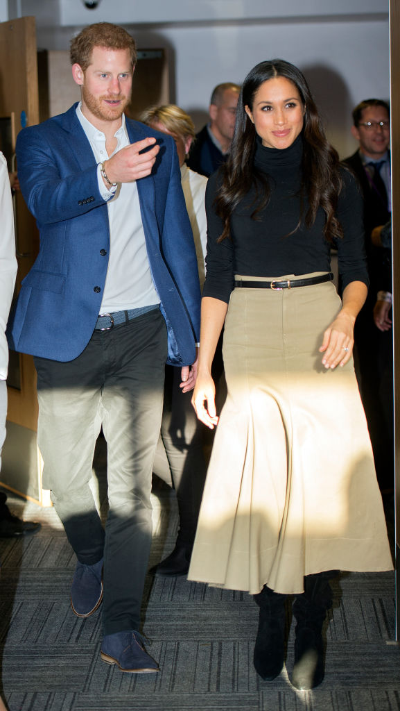 Prince Harry and his fiancee US actress Meghan Markle visit Nottingham Academy on December 1, 2017 in Nottingham, England. Prince Harry and Meghan Markle announced their engagement on Monday 27th November 2017 and will marry at St George's Chapel, Windsor in May 2018.