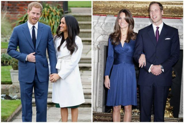 Royal engagement collage with Meghan Markle, Prince Harry, Kate Middleton and Prince William.