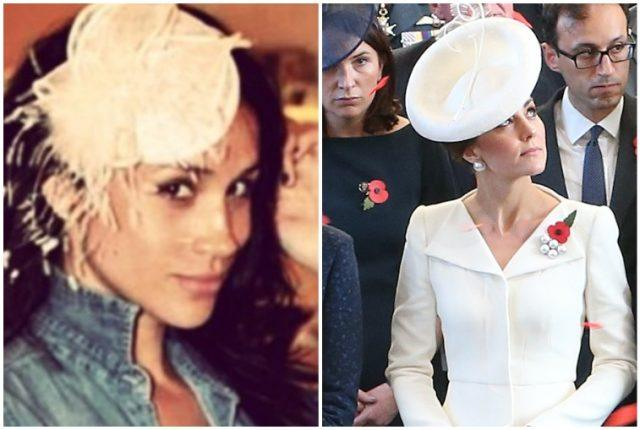 Meghan Markle and Kate Middleton wearing head pieces.