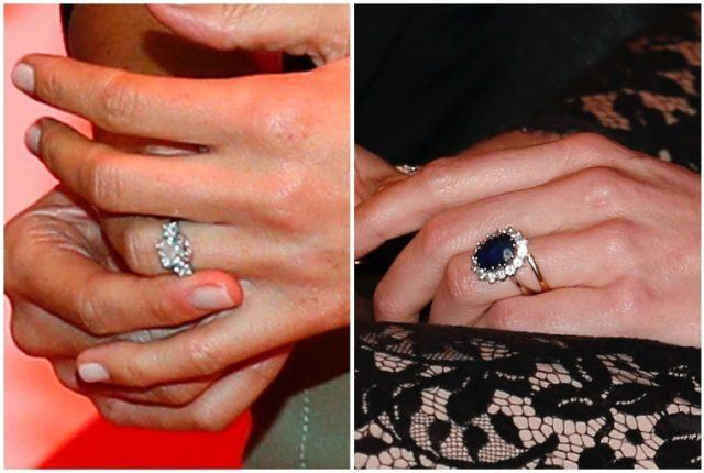 Kate Middleton and Meghan Markle's engagement rings.