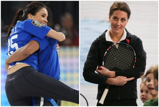 Collage featuring Kate Middleton and Meghan Markle's athletic abilities.