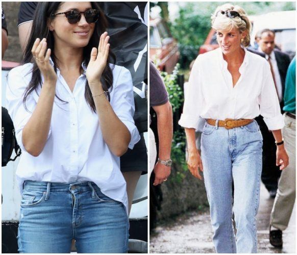 Collage featuring Meghan Markle and Princess Diana's fashion.