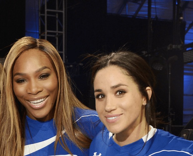 Serena Williams smiles as she stands next to Meghan Markle.