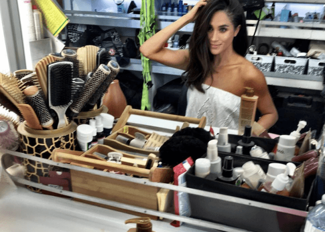 Meghan Markle in a dressing room