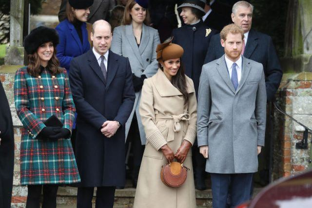 Left to right: Kate Middleton, Prince William, Meghan Markle, and Prince Harry on Christmas Day 2017.