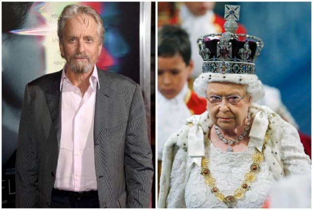 Michael Douglas and Queen Elizabeth.