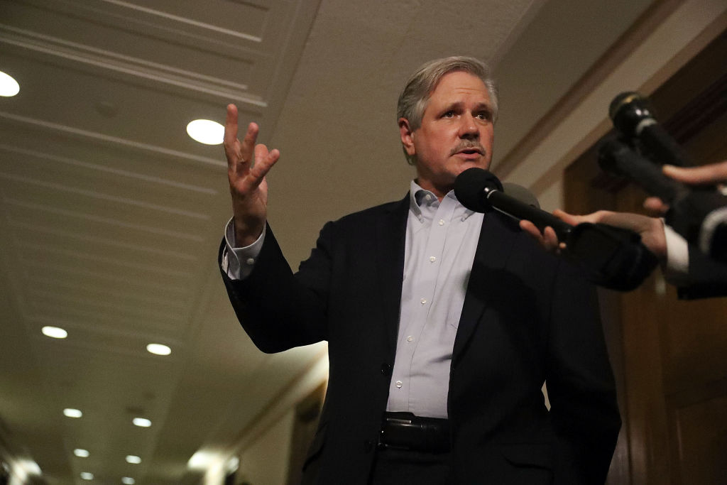 Sen. John Hoeven (R-ND) speaks to reporters after attending a healthcare bill meeting