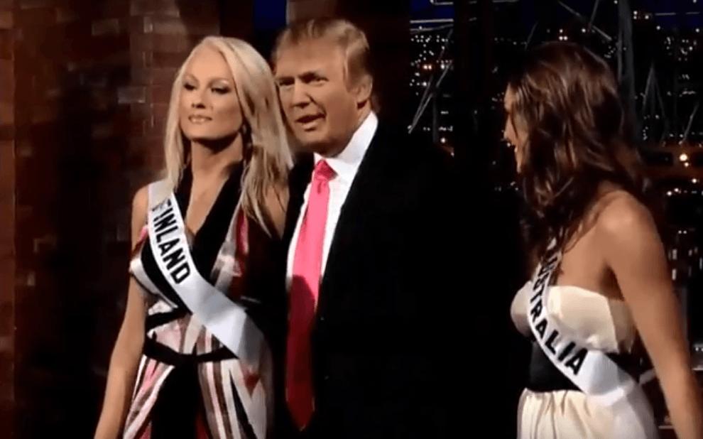 Miss Finland, Ninni Laaksonen and Donald Trump on the David Letterman Show