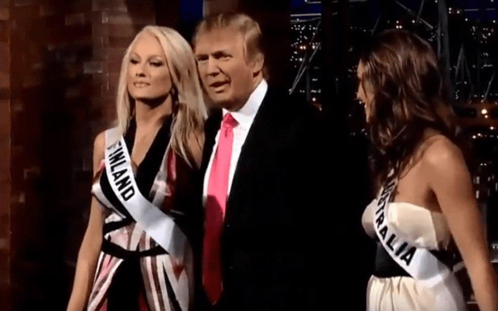 Miss Finland, Ninni Laaksonen and Donald Trump on the David Letterman Show