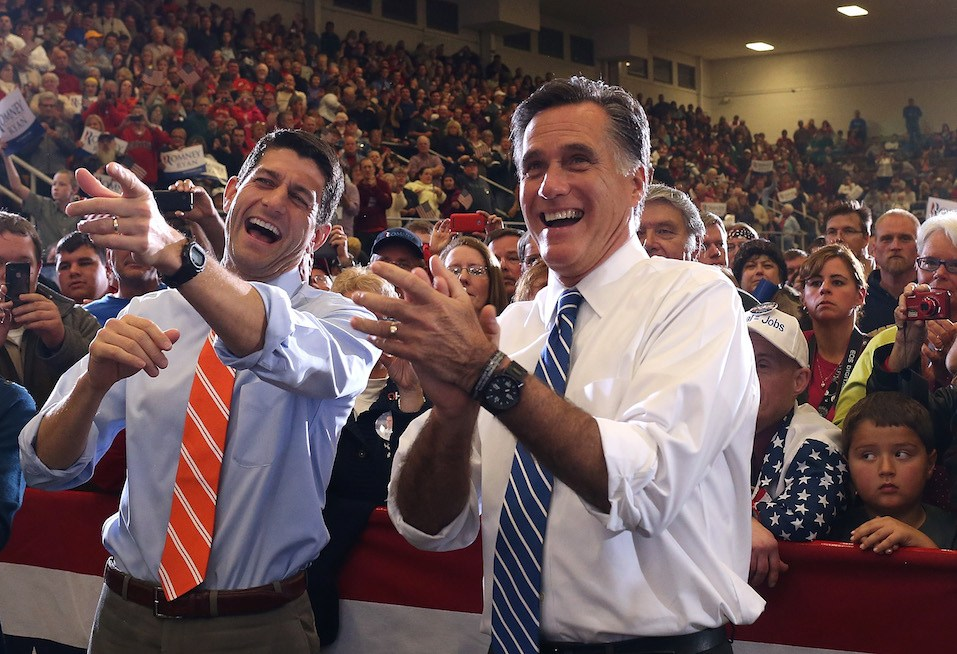 Mitt Romney and his running mate U.S. Sen. Paul Ryan during a campaign rally at the Marion County Fairgrounds