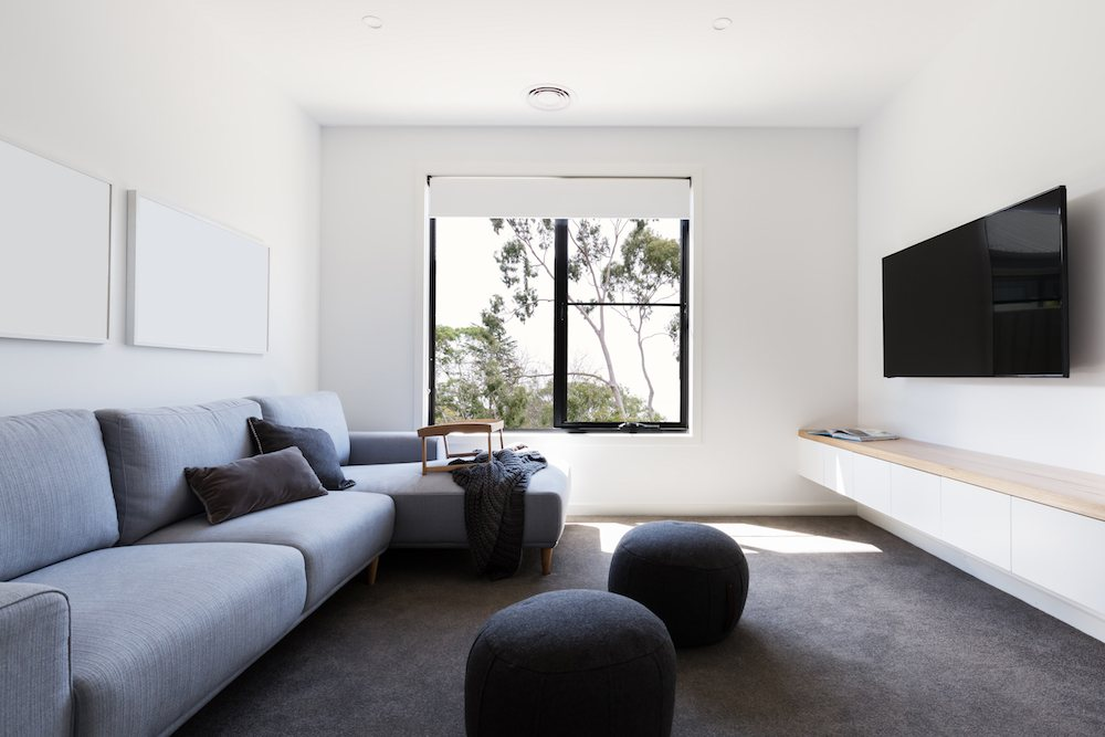 Living room with wall to wall carpeting