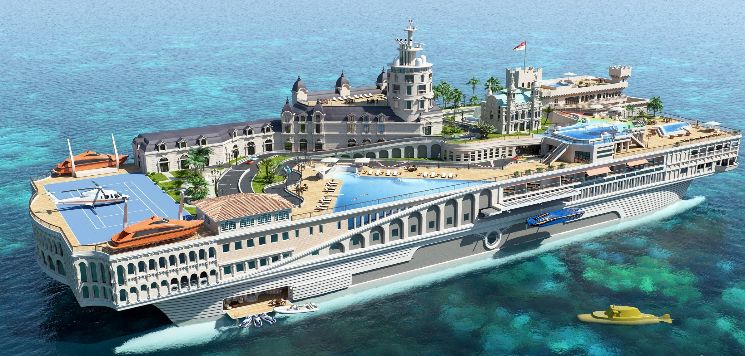 Streets of Monaco luxury yacht exterior