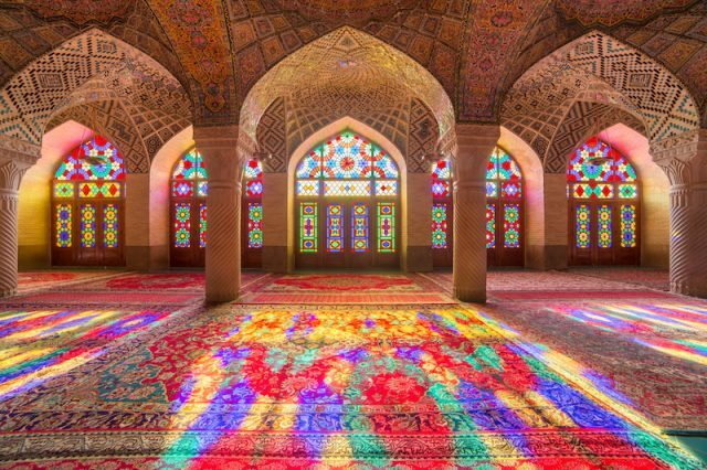 Light and sunshine seen seeping into a Mosque.