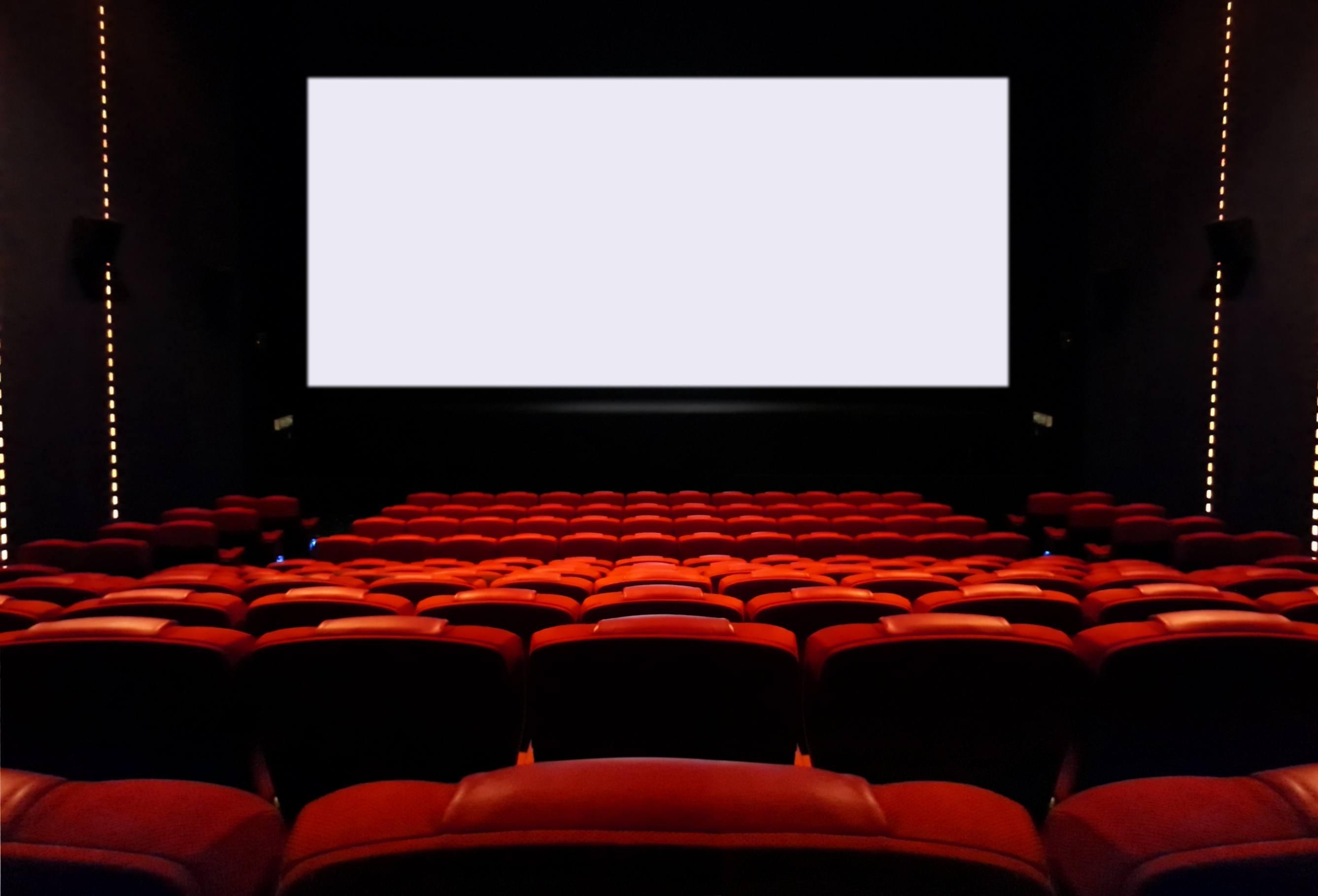 Empty cinema seats with blank white screen