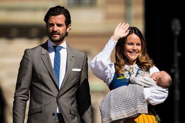 Prince Carl Phillip, Princess Sofia, and Prince Alexander of Sweden participate in a ceremony celebrating Sweden's national day