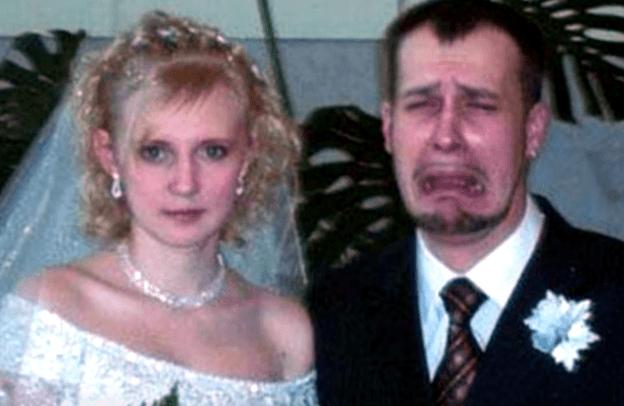 Bride and unhappy groom