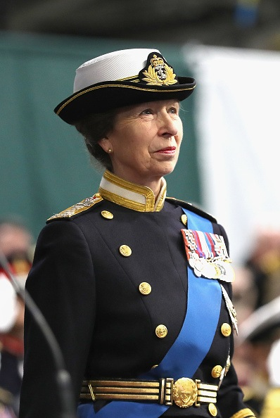 Britain's Princess Anne, Princess Royal attends the Commissioning Ceremony for the Royal Navy aircraft carrier HMS Queen Elizabeth on board the ship at HM Naval Base in Portsmouth, southern England on December 7, 2017. Her Majesty The Queen, accompanied by Her Royal Highness The Princess Royal, attended the Commissioning Ceremony of the aircraft carrier HMS Queen Elizabeth, the largest warship ever built for the Royal Navy.