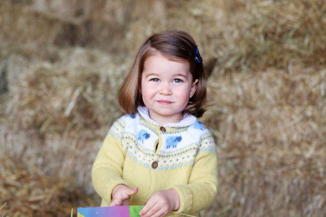 Princess Charlotte smiles as she plays in a yellow cardigan.