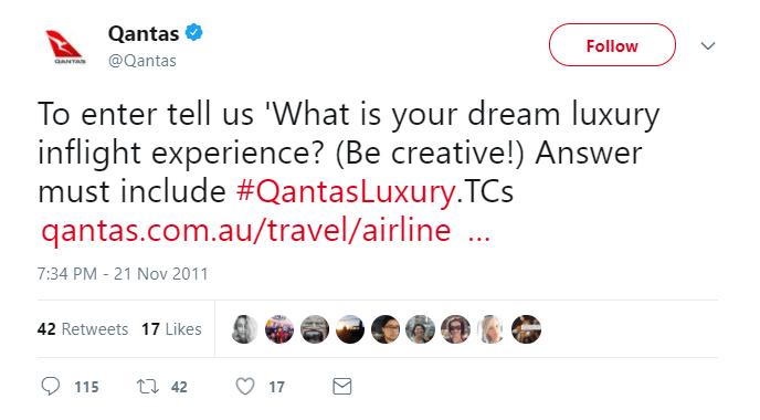 Qantas Luxury Contest tweet