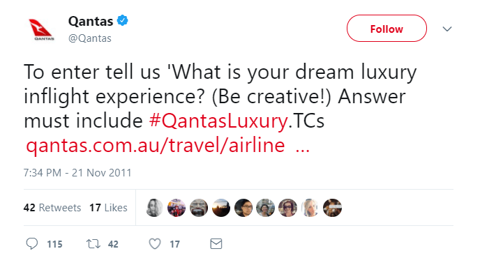 Qantas Luxury Contest tweet