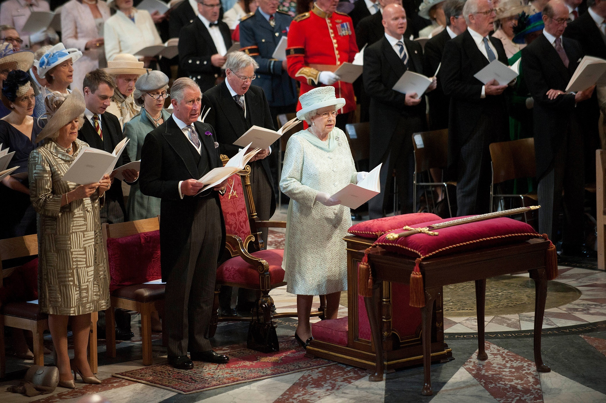Queen Elizabeth and Royal Family at church