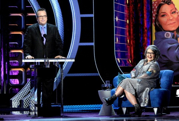 Actor Tom Arnold (L) and roastee Roseanne Barr onstage during the Comedy Central Roast