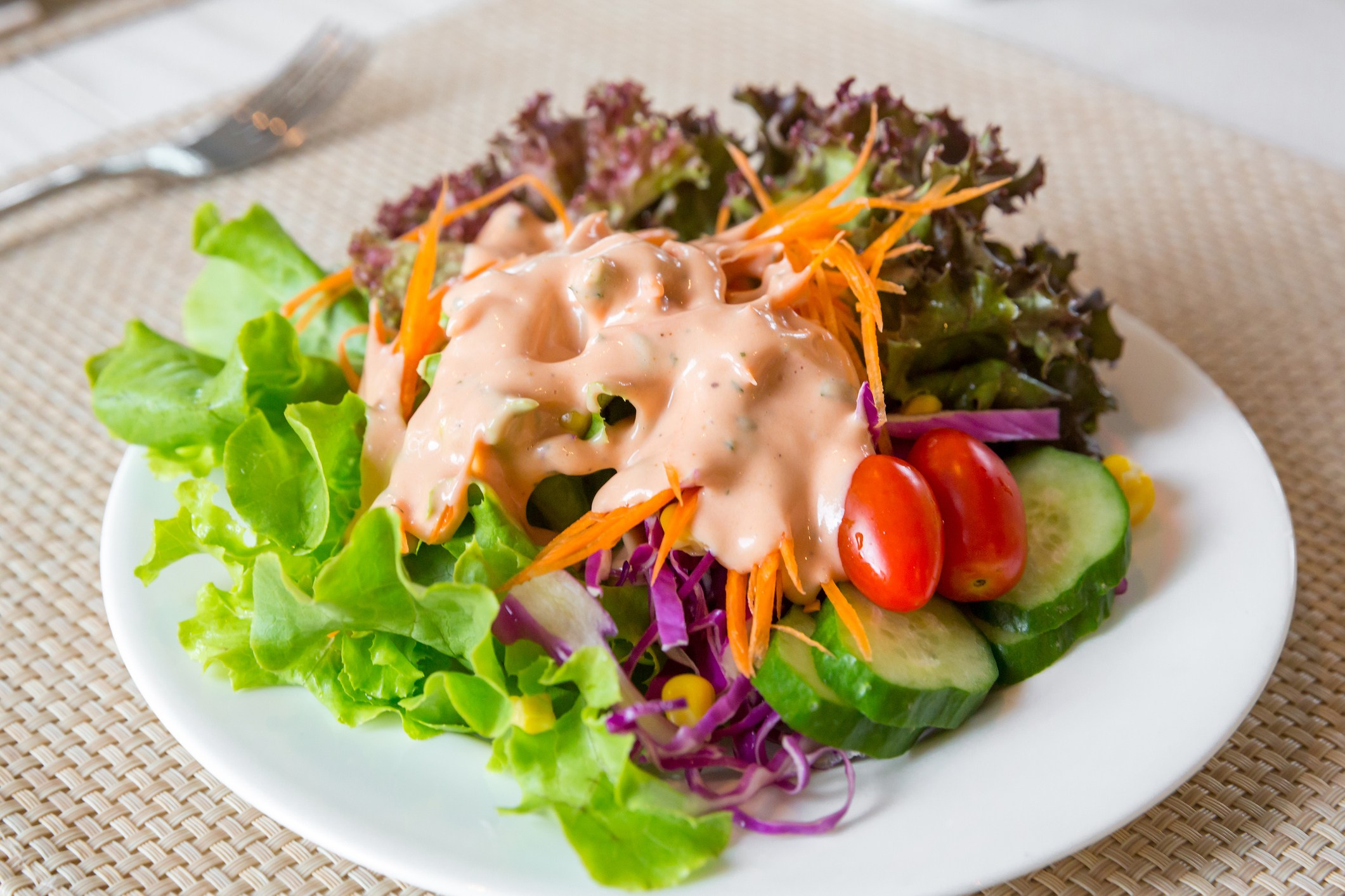 Salad with russian or thousand island dressing