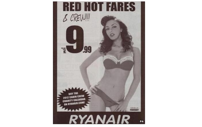 Ryanair Offensive Ad featuring a woman in a bikini